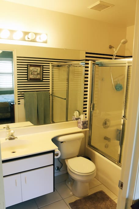 Private bathroom adjoining 2nd bedroom, with 4 stage adjustable shower head.