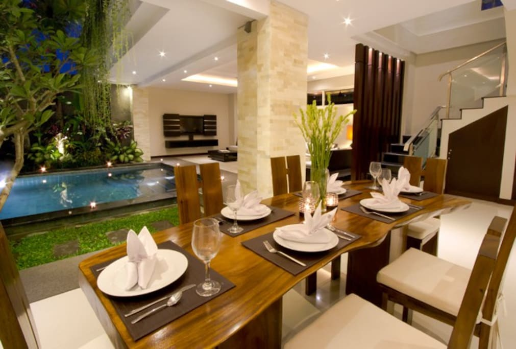 dining facing the pool