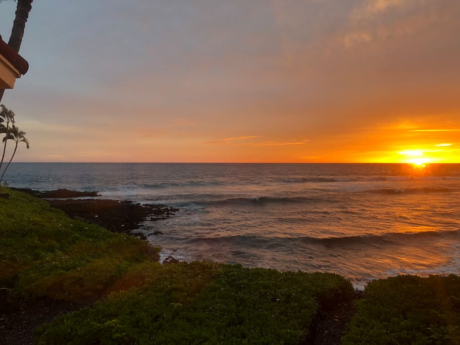 Best View in Kona from your own Master bedroom. There are many ocean view homes but rare are the ocean and beach front homes.  This is where the king lived for a reason.  Come enjoy all the Turtle House has to offer.