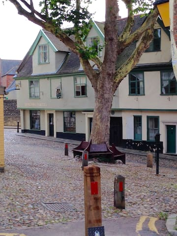 Elm Hill pictured here is 10 metres from the apartment.