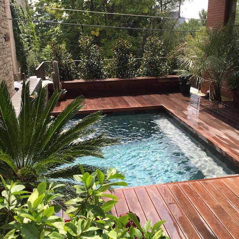 Tropical courtyard with 10' x 12' x 4.6' in-ground Plunge Pool for sunbathing or simply relaxing in a clean and refreshing body of water.