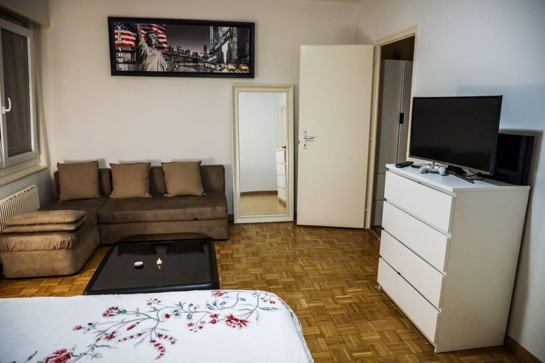 Salón avec canapé lit et grande fenêtre
