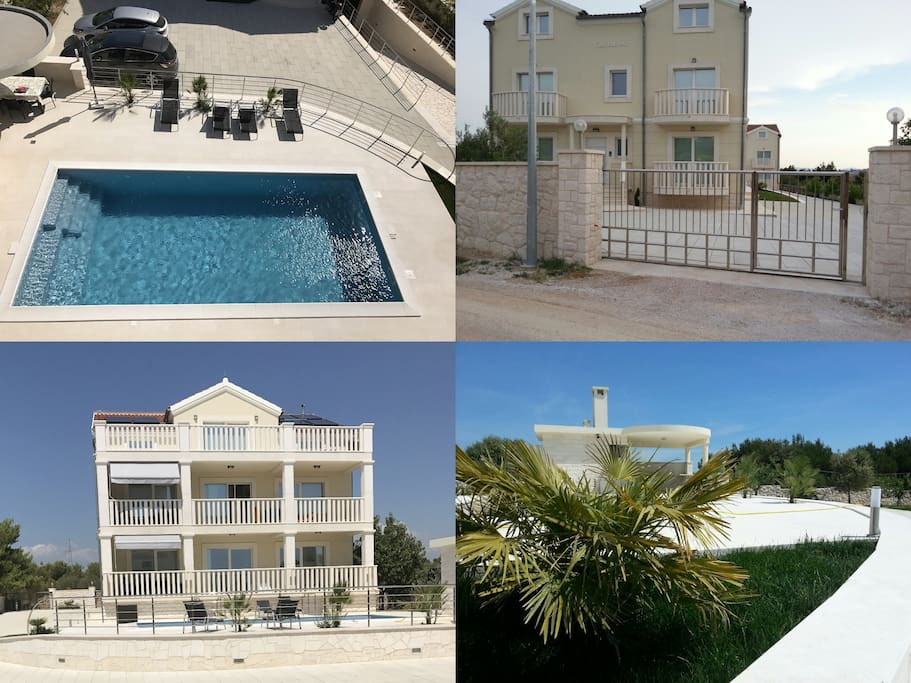 Collage, exterior, swimming pool and outdoor kitchen