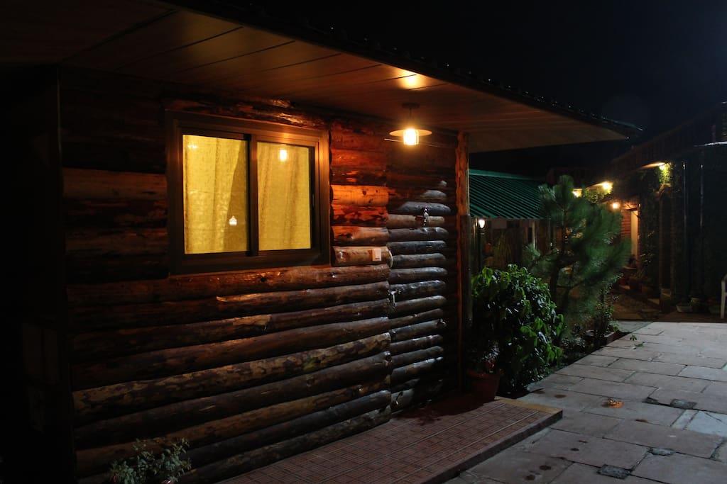 Night View Log Hut