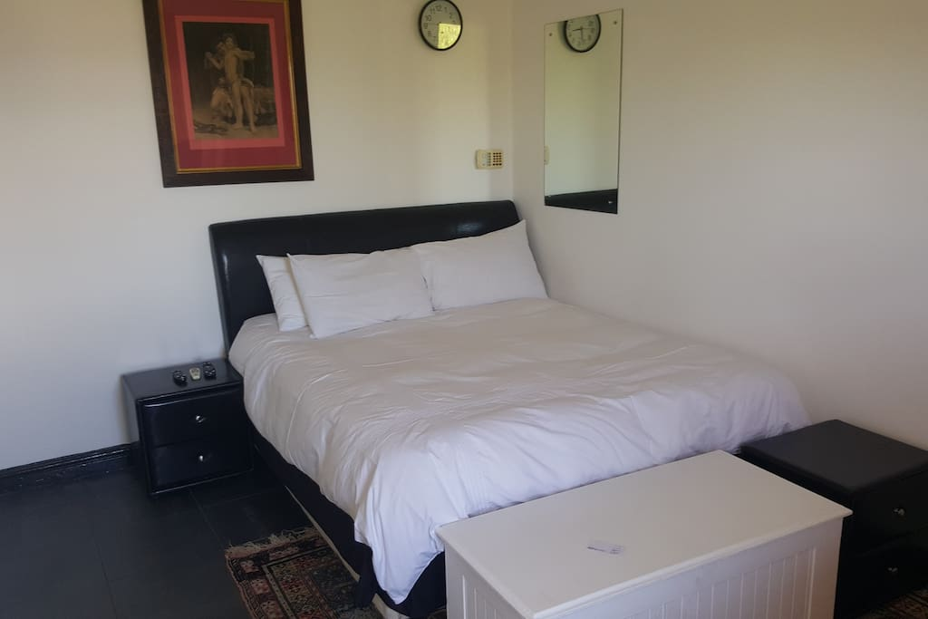 Bed in air conditioned room