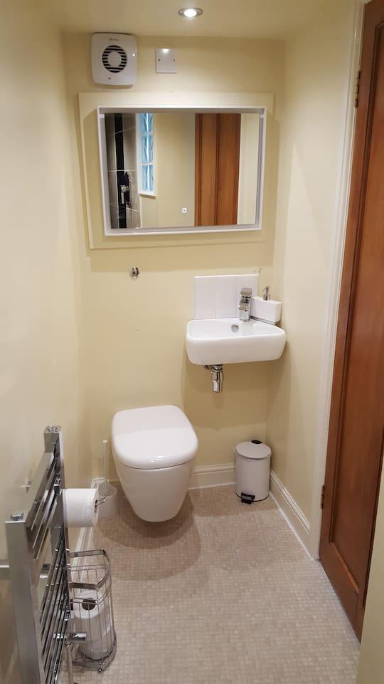 Private Toilet, Sink, Illuminated Mirror, Towel Warmer
