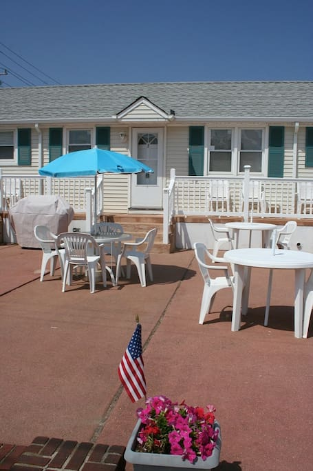 The patio is a comfortable space for grilling, dining or relaxation