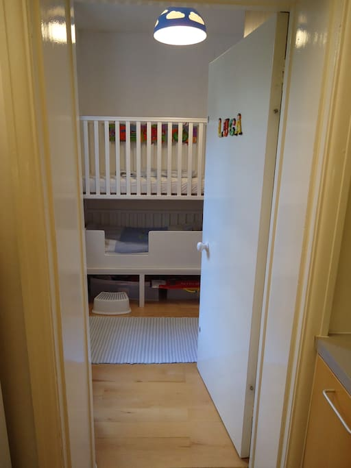 This is an old photo, there are now two single bunk beds. The top cot is for babies and can be arranged if need be