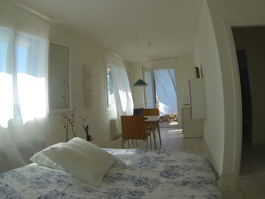 Double bed room with table, fully equipped kitchen, toilet, big terrace.