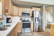 The large updated kitchen is perfect for making home cooked meals.