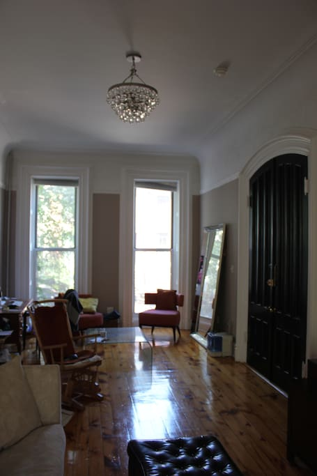 Classic brownstone double parlor, with separate work space