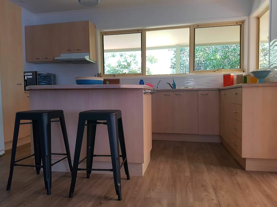 Bright airy kitchen with convection/microwave, dishwasher, toaster, kettle and coffee maker