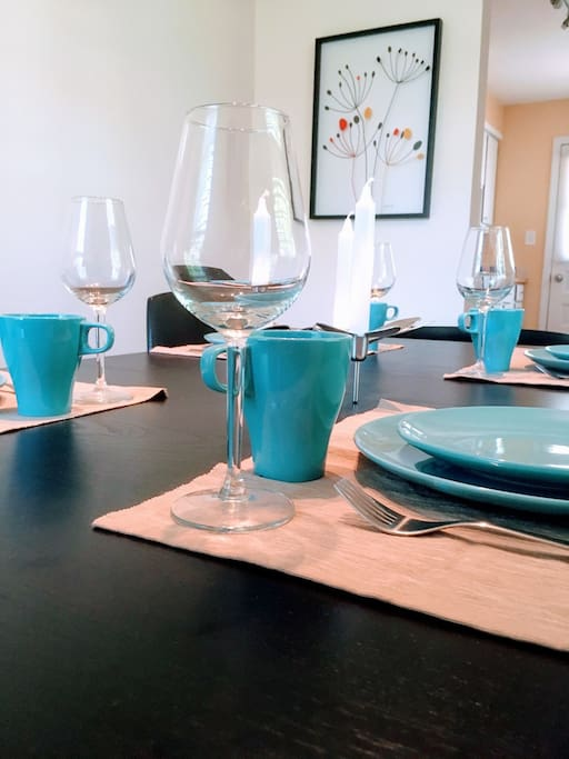 Dining table; these are the dishes available to our guests.