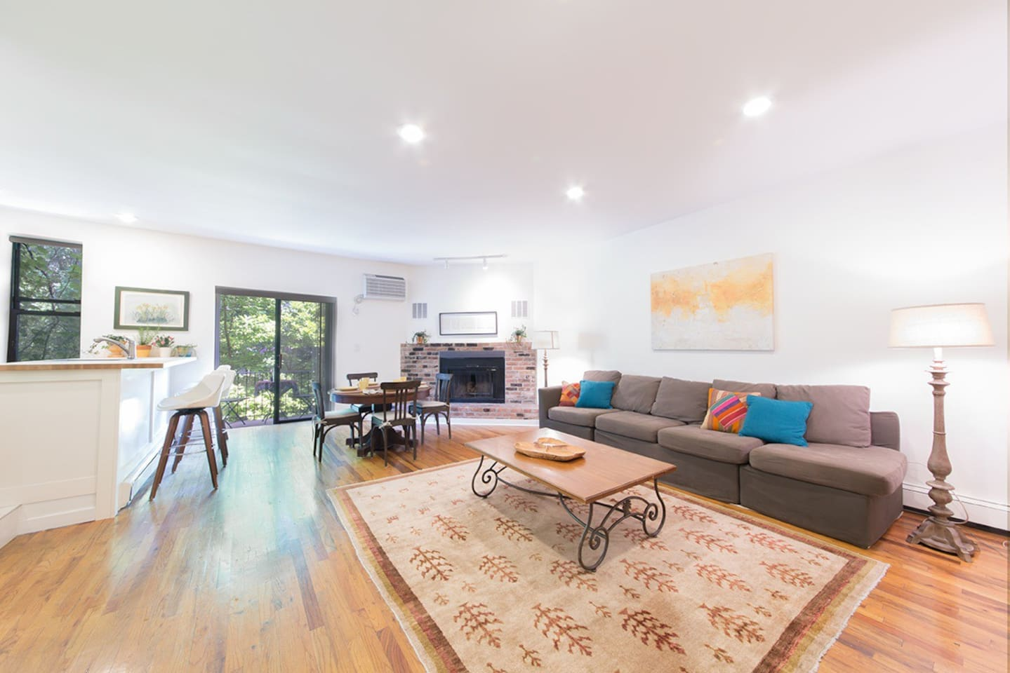 Lovely layout,  working fireplace and a washer dryer in the unit