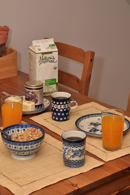 Enjoy self-service organic, fair trade continental breakfast in your room.