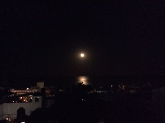 Beautiful moon seen from the terrace