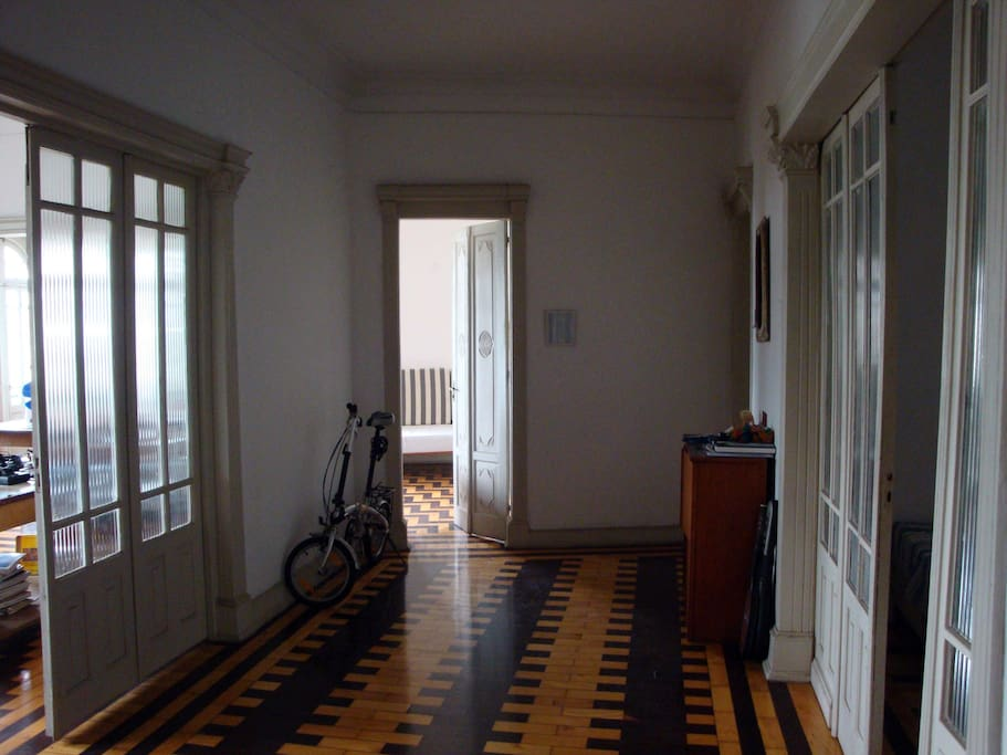 Entrance hall of the apartment - all wooden parquet floor