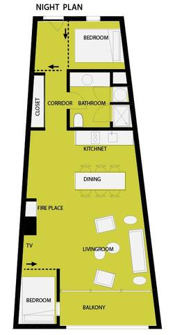 night plan: 2 sleeping rooms in the evening