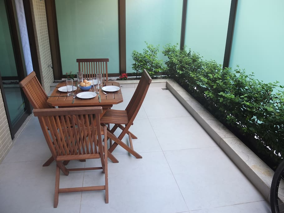 PRIVATE FRONT TERRACE.  GREAT SPOT FOR BREAKFAST!
