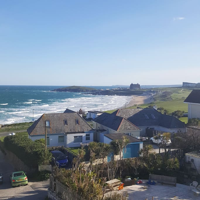 View from the balcony out over Fistral Beach and to Towan Head.