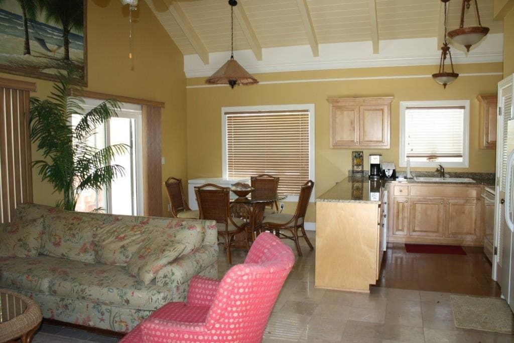 Professionally decorated bungalows. Each one has a sleeper sofa in the living room.