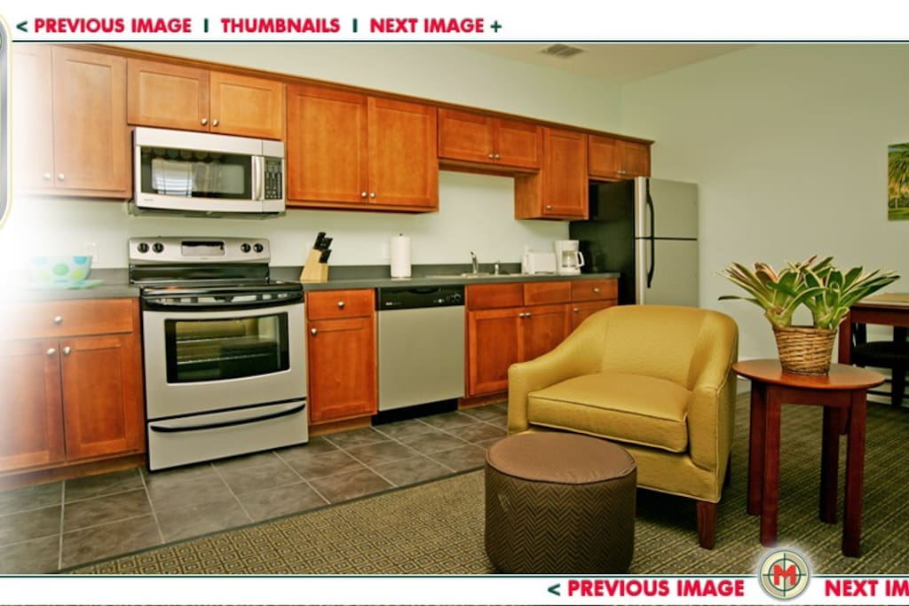 Fully equipped kitchen with all service for 4, pots and pans. 2 slice toaster and 12 cup coffee maker