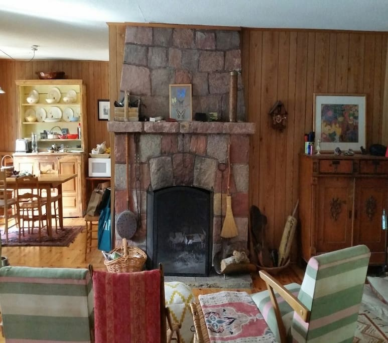 Living room wood burning fireplace