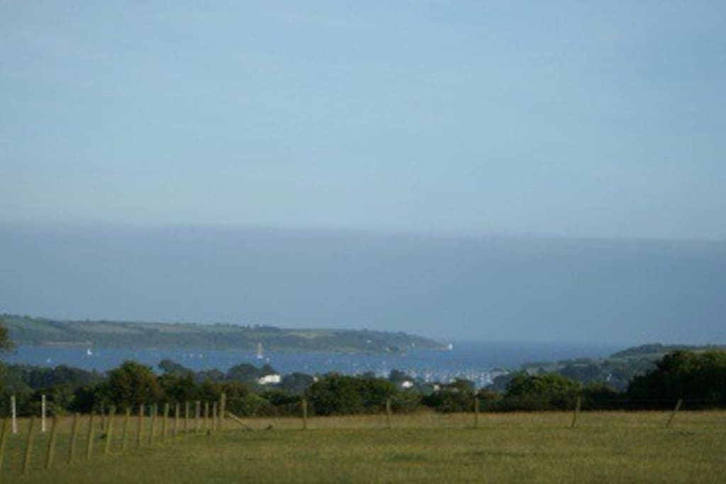 The view from our field showing the Fal (falmouth cornwall) Estury. With st Anthony Head lighthouse