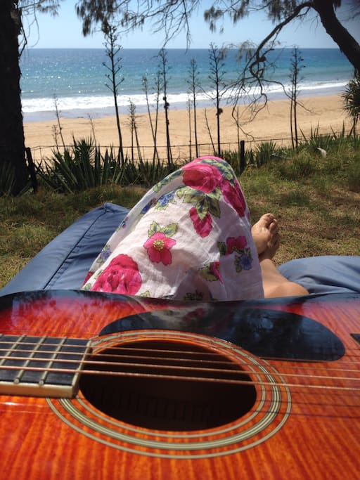 Relax by the beach and play a few tunes from comfort of your backyard.