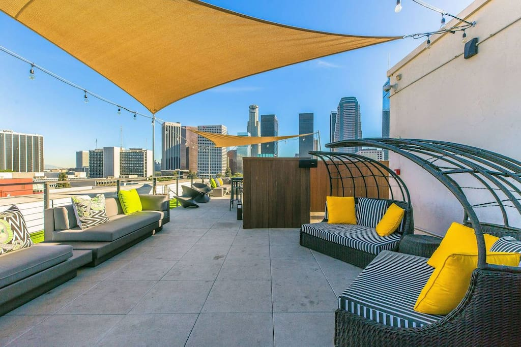 Rooftop Lounge with downtown views.