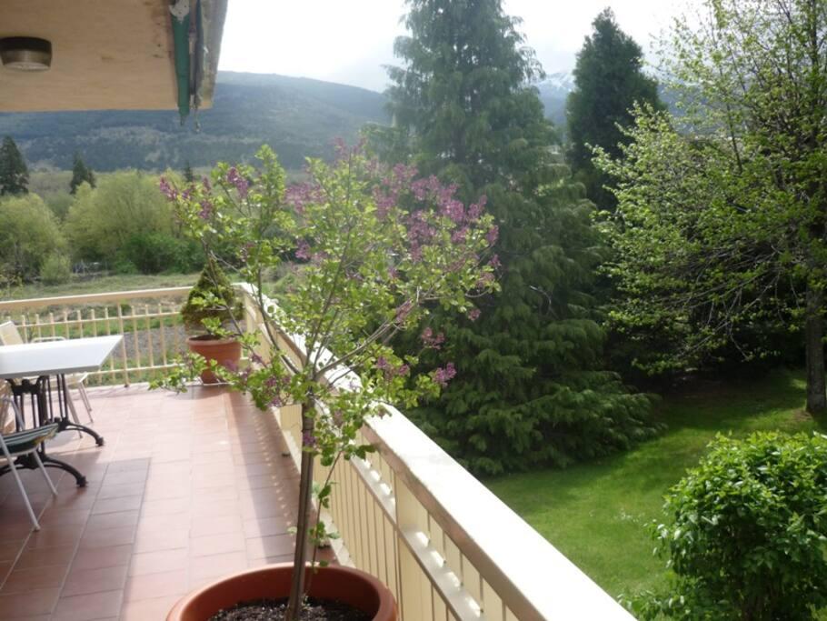 Terraza, abajo está el jardín