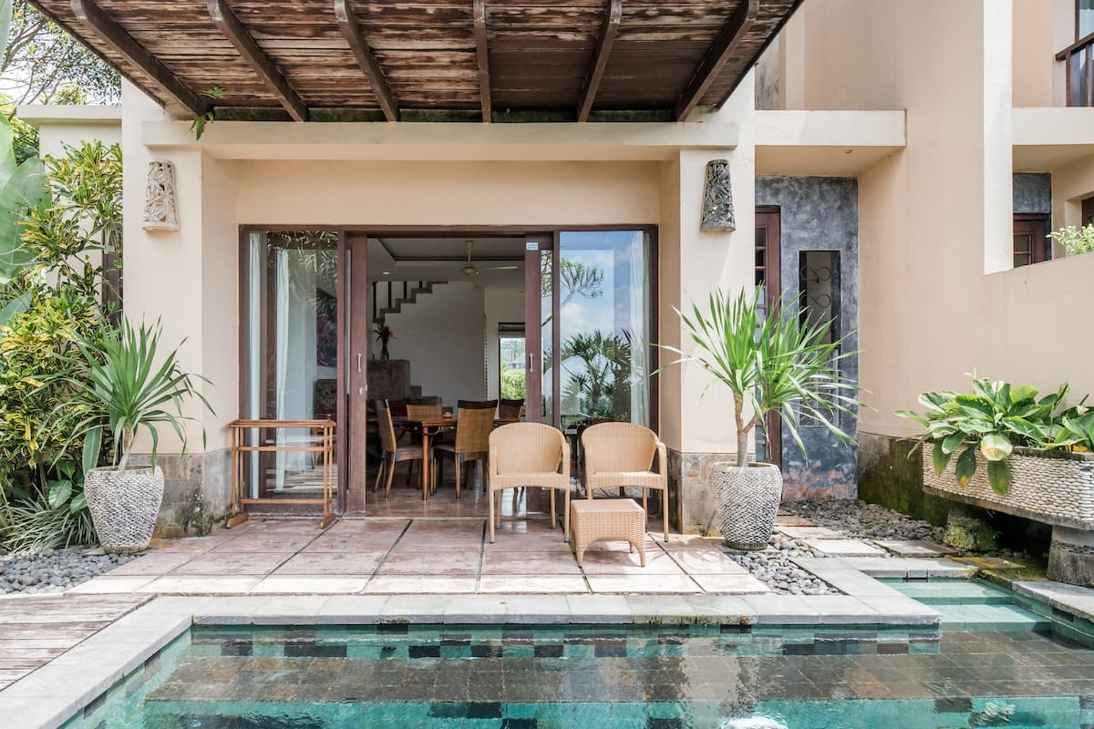 Serene Poolside Villa with Rice Paddy Views