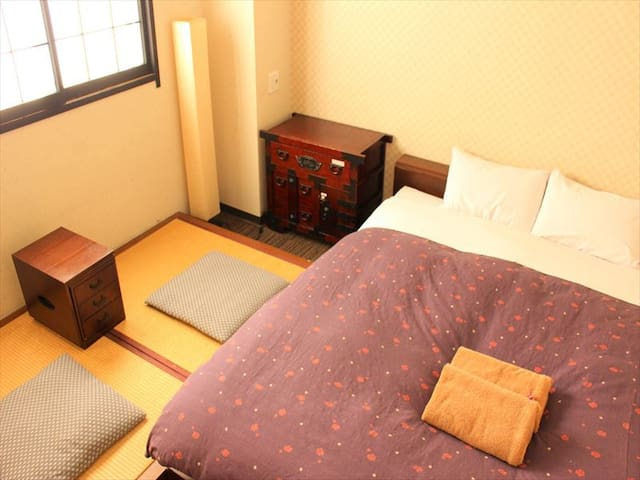 5 min from station, Double room with bathtub