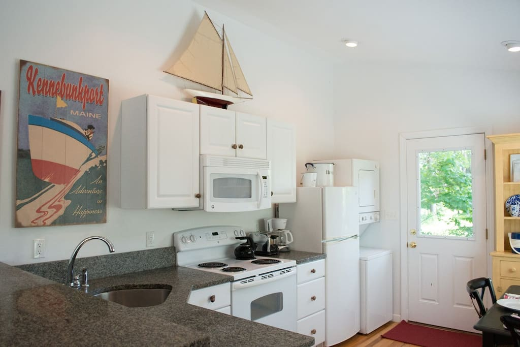 Full kitchen with granite countertops and all kitchen ware you will need.