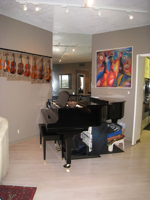 Baby grand piano in living room