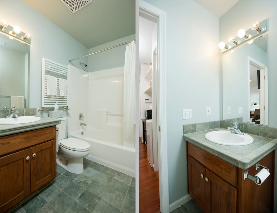 Private bath with tub and shower, heated towel bar warmer, heated porcelaln floors