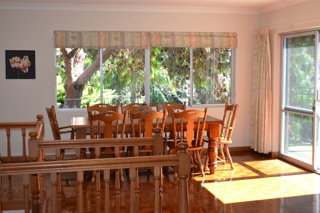 Light, airy dining area with great views of the Reserve
