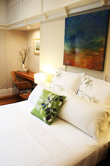 The beautiful Ballroom features contemporary comfort with a bit of art deco style. Perfect for a few nights in the country.