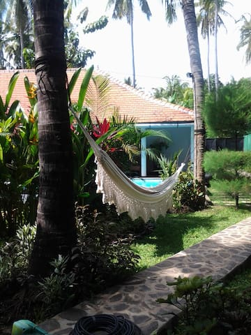 Lovely tropical garden to relax in