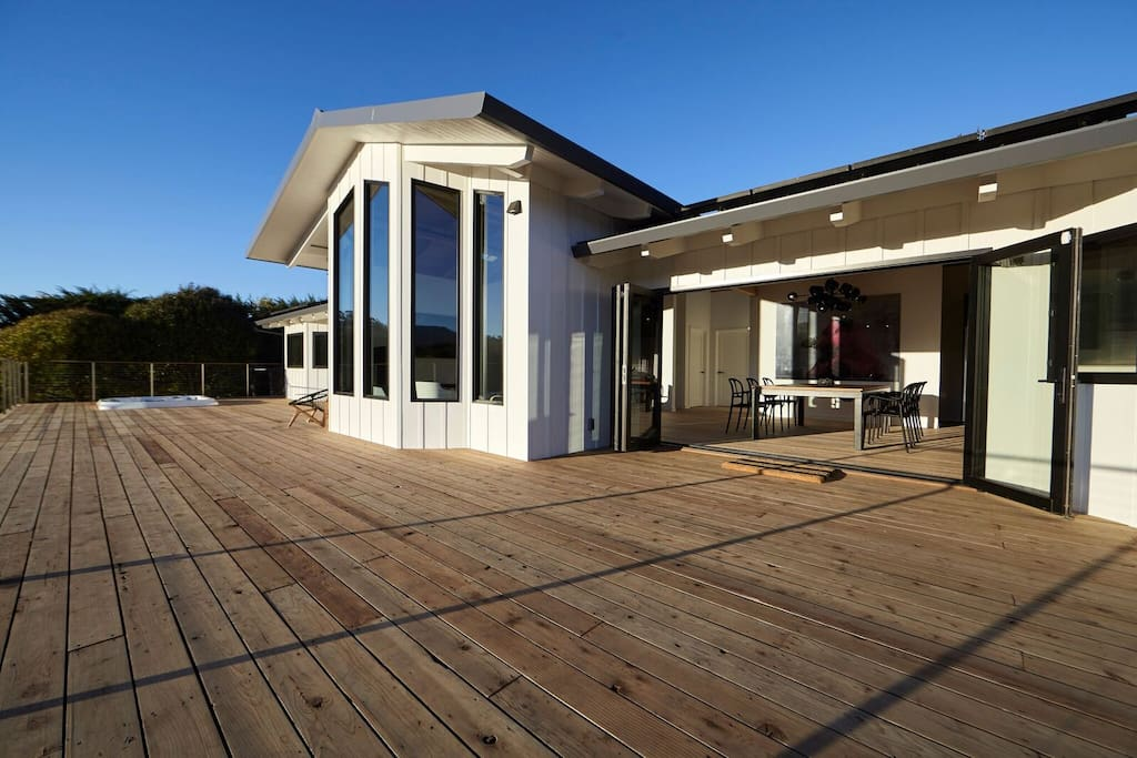 Enormous deck with brand new hot tub