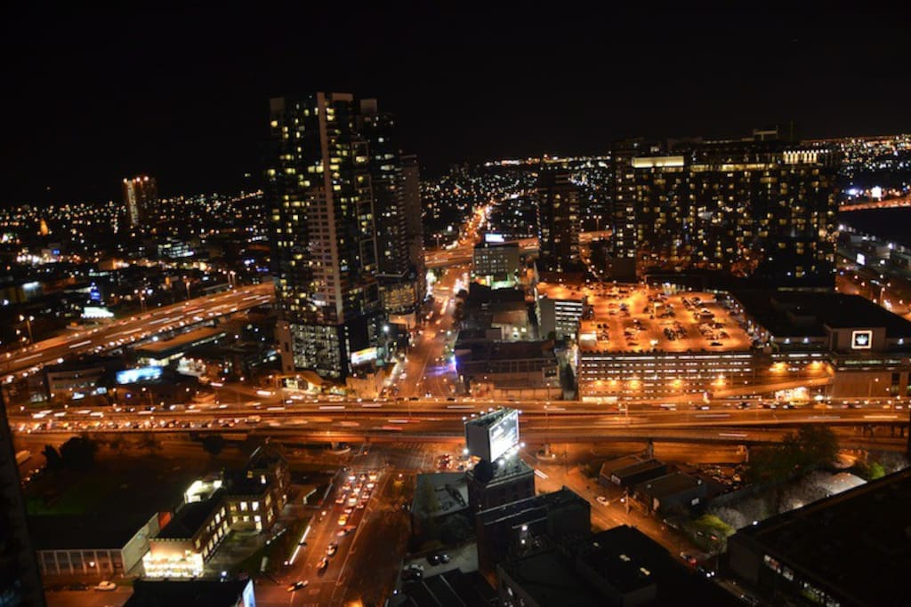 Night views from our 32nd floor balcony facing South Melbourne and the bay..