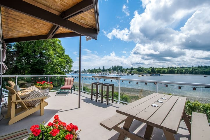 Large back deck overlooking the bay and marina
