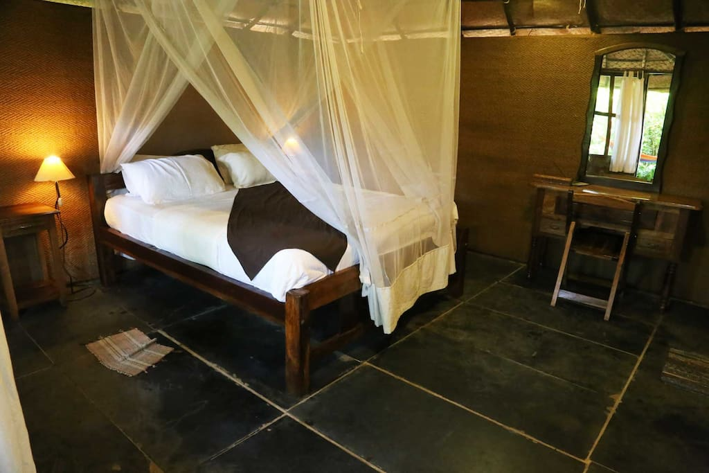 King size bed with mosquito net