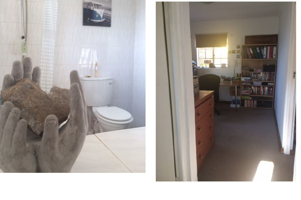 Bathroom and office/dining room area.