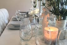 water glasses are always located on the dining table for your convenience