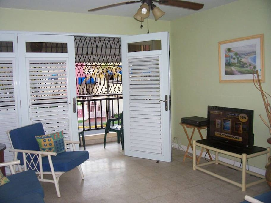 Family room connects with the balcony