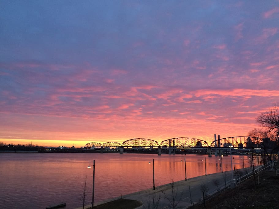 View of the Walking Bridge and Downtown Louisville from the front porch