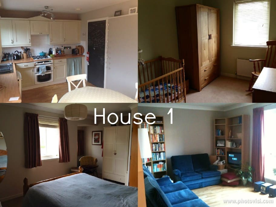 House 1, featuring 2 double rooms and a nursery.