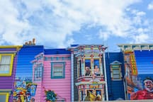 Vibrant murals and architecture are common sights in the trendy and sunny Mission district.