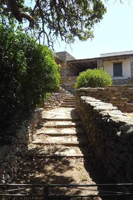 The Villa: Main pedestrian entrance and pathway